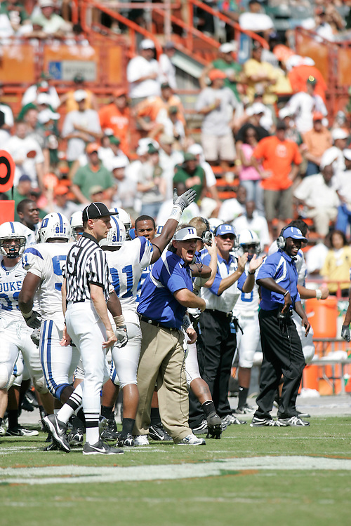 Duke Blue Devils @ Miami Hurricanes, September 29, 2007 at the Miami Orange Bowl Stadium in Miami, Florida.