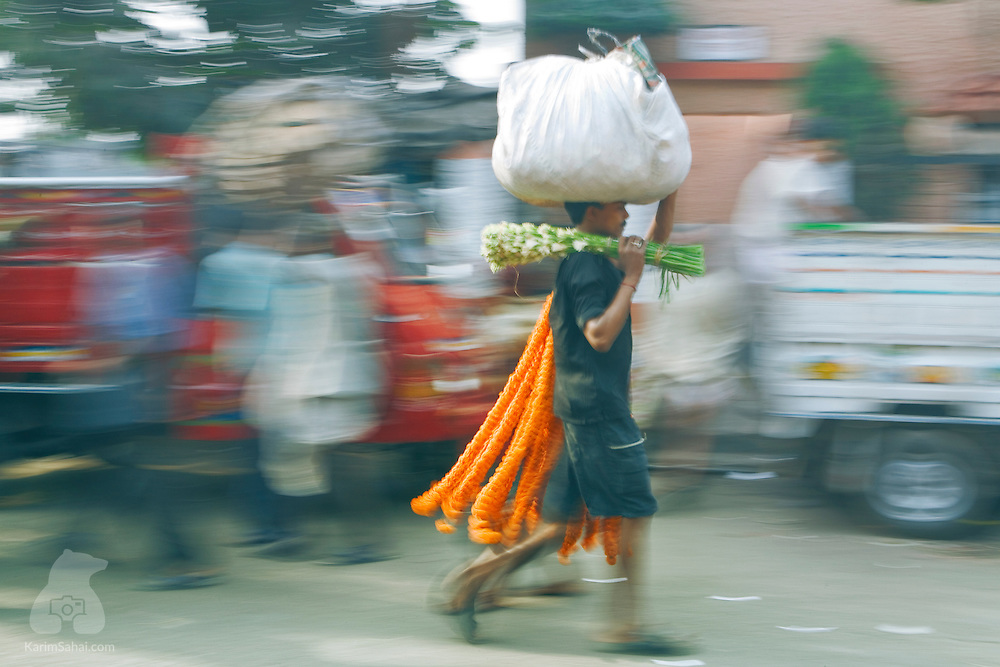 Man carrying flowers, Kolkata, west Bengal, India.