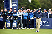 John Augentsein (USA) plays the opening tee shot from the first tee during the Saturday morning Foursomes in the Walker Cup at the Royal Liverpool Golf Club, Saturday, Sept 7, 2019, in Hoylake, United Kingdom. (Steve Flynn/Image of Sport)