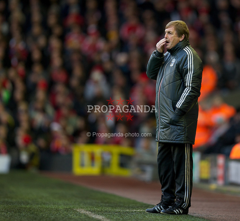 LIVERPOOL, ENGLAND - Saturday, December 10, 2011: Liverpool's manager Kenny Dalglish during the Premiership match between Liverpool and Queens Park Rangers at Anfield. (Pic by David Rawcliffe/Propaganda)