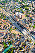 Nederland, Noord-Holland, Hilversum, 05-08-2014; centrum Hilversum met NS-station en stationsgebied. Vituskerk.<br /> City centre Hilversum with railway station area.<br /> luchtfoto (toeslag op standaard tarieven);<br /> aerial photo (additional fee required);<br /> copyright foto/photo Siebe Swart.