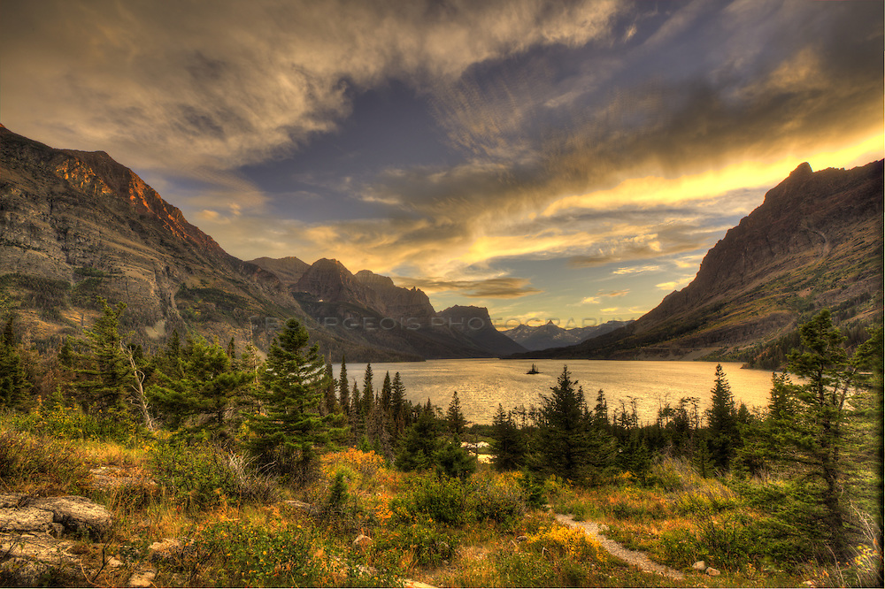 Sunrise at Goose Island in Glacier National Park