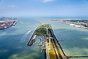 Nederland, Zuid-Holland, Rotterdam, 10-06-2015;  Scheurhaven aan het eind van de Landtong Rozenburg met sleepboten en andere boten Havenbedrijf Rotterdam. Links Europoort met Calandkanaal, rechts Hoek van Holland en Nieuwe Waterweg. Maasvlakte I en II aan de horizon, Maasgeul en Maasmond.<br /> Scheurhaven with tugs and other boats Port Authority. Europoort and Calandkanaal Hook of Holland and New Waterway. Maasvlakte I and II on the horizon, Maas estuary.<br /> luchtfoto (toeslag op standard tarieven);<br /> aerial photo (additional fee required);<br /> copyright foto/photo Siebe Swart