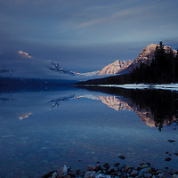 Lake McDonald winter sunset. Glacier National Park, Montana. Mount Stanton (l), and Brown (r)