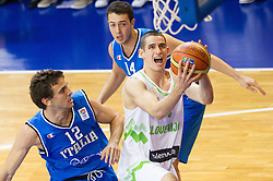 Gabriele Spizzichini of Italy vs Jan Span of Slovenia during basketball match between National team of Slovenia and Italy in First Round of U20 Men European Championship Slovenia 2012, on July 12, 2012 in Domzale, Slovenia.  (Photo by Vid Ponikvar / Sportida.com)