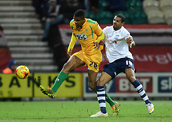 Yeovil Town's Stephen Arthurworrey competes with Preston North End's Jermaine Beckford - Photo mandatory by-line: Richard Martin-Roberts - Mobile: 07966 386802 - 20/01/2015 - SPORT - Football - Preston - Deepdale Stadium - Preston North End v Yeovil Town - Sky Bet League One