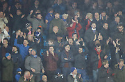 Happy Cardiff fans during the EFL Sky Bet Championship match between Leeds United and Cardiff City at Elland Road, Leeds, England on 3 February 2018. Picture by Paul Thompson.