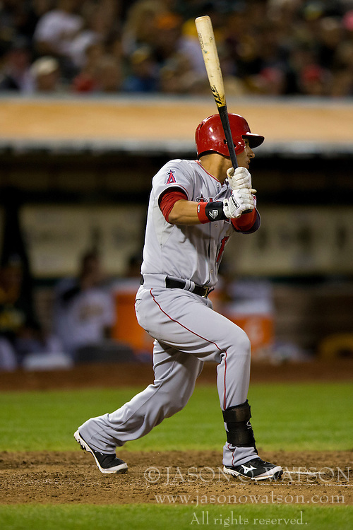 OAKLAND, CA - SEPTEMBER 23:  Efren Navarro #19 of the Los Angeles Angels of Anaheim at bat against the Oakland Athletics during the fifth inning at O.co Coliseum on September 23, 2014 in Oakland, California. The Los Angeles Angels of Anaheim defeated the Oakland Athletics 2-0.  (Photo by Jason O. Watson/Getty Images) *** Local Caption *** Efren Navarro