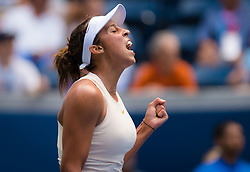 August 30, 2018 - New York, New York, U.S. - MADISON KEYS of the United States  celebrates during her second round match at the 2018 US Open Grand Slam tennis tournament. Madison Keys defeated B.Pera 6-4, 6-1. (Credit Image: © AFP7 via ZUMA Wire)