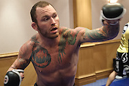 BIRMINGHAM, ENGLAND, NOVEMBER 2, 2011: Chris Leben works on his striking at the media open work-out sessions inside the Hilton Hotel on November 2, 2011.