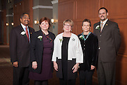 Ohio University President  Roderick McDavis with the the three 2013 Outstanding Administrator Award winners, Martha Biship, Joan Buthcher, and Judith M. Piercy and Chair of Administrative Senate Joshua J. Bodnar at the Ohio University 2014 Outstanding Administrator Awards on March 10, 2014. Photo by Ohio University / Jonathan Adams