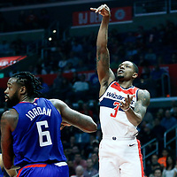 09 December 2017: Washington Wizards guard Bradley Beal (3) goes for the jump shot over LA Clippers center DeAndre Jordan (6) during the LA Clippers 113-112 victory over the Washington Wizards, at the Staples Center, Los Angeles, California, USA.