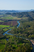 Stream running trough farmland in the Southern Willamette Valley from the air.