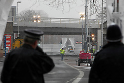 © Licensed to London News Pictures. 18/01/2013. London, U.K..The cordoned off street scene in Vauxhall helicopter crash site today (18/01/13) after the helicopter struck a crane on the morning of the16/01/2012, which then crashed to the ground killing two people. HELICOPTER CRASH SITE, VAUXHALL, LONDON, UK  today 18/1/2013. .Photo credit : Rich Bowen/LNP