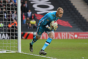 Milton Keynes Dons goalkeeper Cody Cropper (22) during the Sky Bet Championship match between Milton Keynes Dons and Brighton and Hove Albion at stadium:mk, Milton Keynes, England on 19 March 2016.