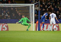 Riyad Mahrez of Leicester City scores. - Mandatory by-line: Alex James/JMP - 18/10/2016 - FOOTBALL - King Power Stadium - Leicester, England - Leicester City v FC Copenhagen - UEFA Champions League