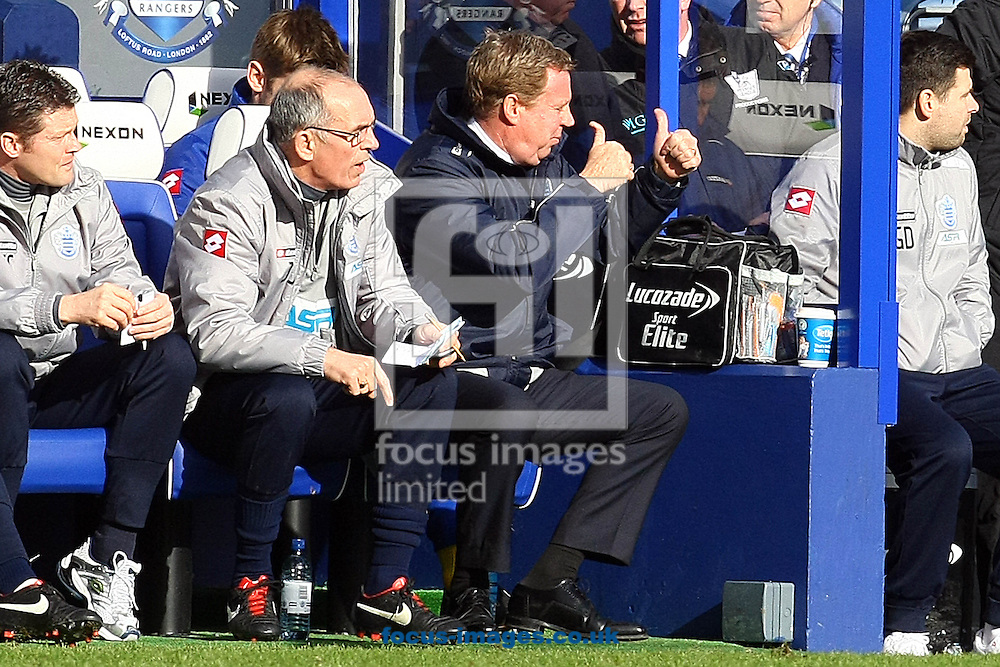 Picture by Paul Chesterton/Focus Images Ltd +44 7904 640267.02/02/2013.QPR Manager Harry Redknapp gives the thumbs up during the Barclays Premier League match at the Loftus Road Stadium, London.