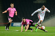 MK Dons Samir Caruthers  during the The FA Cup Third Round Replay match between Milton Keynes Dons and Northampton Town at stadium:mk, Milton Keynes, England on 19 January 2016. Photo by Dennis Goodwin.