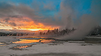 Eternal Boiling springs of the Midway Geyser Basin, Yellowstone National Park, Wyoming