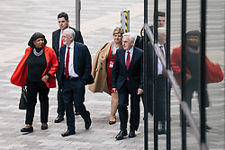 © Licensed to London News Pictures. 26/09/2018. Liverpool, UK. From left: Shadow Home Secretary DIANE ABBOTT, Shadow Secretary of State for Justice RICHARD BURGON, Labour Party Leader JEREMY CORBYN, Shadow Foreign Secretary EMILY THORNBERRY and Shadow Chancellor JOHN MCDONNELL arrive at the Labour Party Conference ahead of Jeremy Corbyn's speech. Photo credit: Rob Pinney/LNP