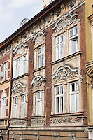 Decorative facade of an old building in Podgorze area of Krakow Poland