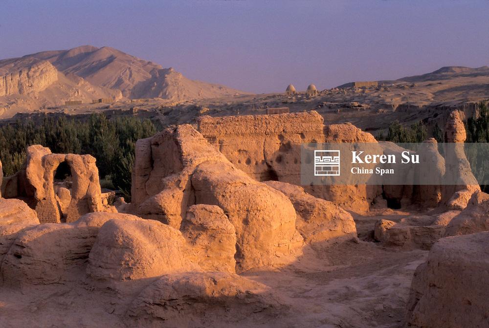 Jiaohe Ruins at sunset, Turpan area, Xinjiang Province, Silk Road, China