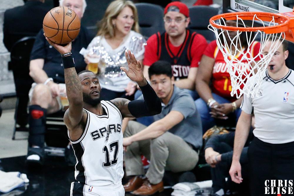 01 May 2017: San Antonio Spurs guard Jonathon Simmons (17) takes a jump shot during the Houston Rockets 126-99 victory over the San Antonio Spurs, in game 1 of the Western Conference Semi Finals, at the AT&T Center, San Antonio, Texas, USA.