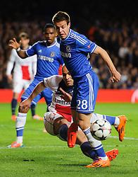 PSG Defender Alex (BRA) clears from Chelsea Defender Cesar Azpilicueta (ESP) - Photo mandatory by-line: Rogan Thomson/JMP - 07966 386802 - 08/04/2014 - SPORT - FOOTBALL - Stamford Bridge, London - Chelsea v Paris Saint-Germain - UEFA Champions League Quarter-Final Second Leg.