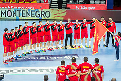 Team Montenegro during handball match between National teams of Germany and Montenegro on Day 2 in Preliminary Round of Men's EHF EURO 2018, on January 13, 2018 in Arena Zagreb, Zagreb, Croatia. Photo by Ziga Zupan / Sportida