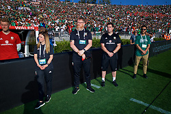 LOS ANGELES, USA - Monday, May 28, 2018: Wales' team operations manager Amanda Smith, head of international affairs Mark Evans and physiotherapist Declan Lynch during an international friendly between Mexico and Wales at the Rose Bowl. (Pic by David Rawcliffe/Propaganda)