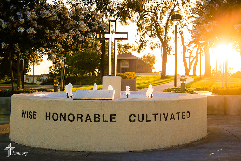 The sun sets over the fountain at Concordia University Irvine on Wednesday, July 9, 2014, in Irvine, Calif. LCMS Communications/Erik M. Lunsford