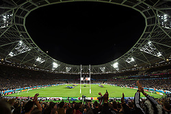 A general view of the Stadium during the national anthems - Mandatory byline: Patrick Khachfe/JMP - 07966 386802 - 24/09/2015 - RUGBY UNION - The Stadium, Queen Elizabeth Olympic Park - London, England - New Zealand v Namibia - Rugby World Cup 2015 Pool C.