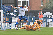 Bury Midfielder, Zeli Ismail (7) and Port Vale Defender, Kjell Knops (5) during the EFL Sky Bet League 1 match between Bury and Port Vale at the JD Stadium, Bury, England on 3 September 2016. Photo by Mark Pollitt.