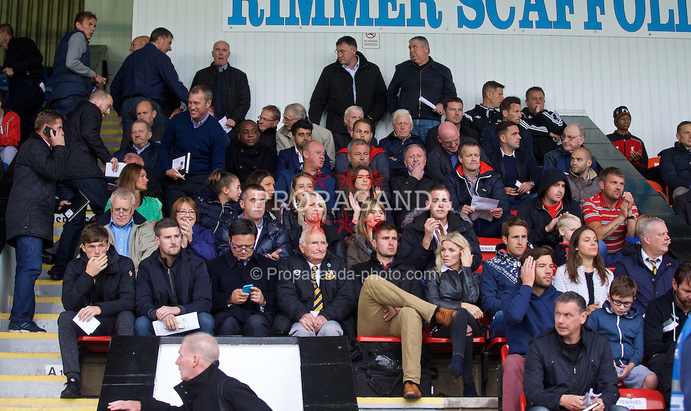 SOUTHPORT, ENGLAND - Wednesday, August 19, 2015: Scouts and agents during the Under 21 FA Premier League match between Everton and Liverpool at Haig Avenue. (Pic by David Rawcliffe/Propaganda)
