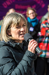 Pictured: Mary Senior, Scottish Official University and College Union introduced the speakers <br /> <br /> University pensions row rally was held outside the Scottish Parliament in Edinburgh today. University staff were joined by politicians and students as part of the strike action event. <br /> <br /> Ger Harley | EEm 8 March 2018