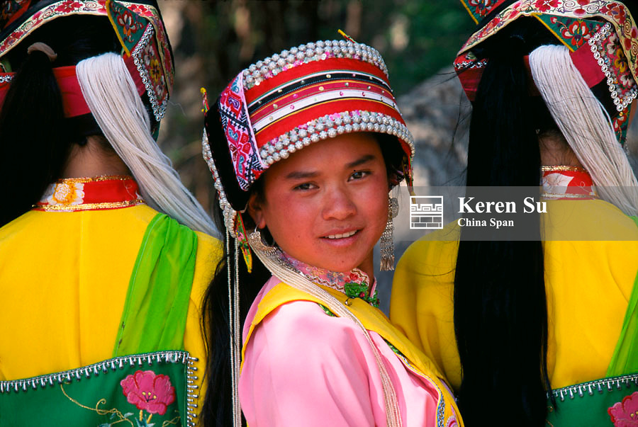 Sani girls in traditional costume, Yunnan Province, China