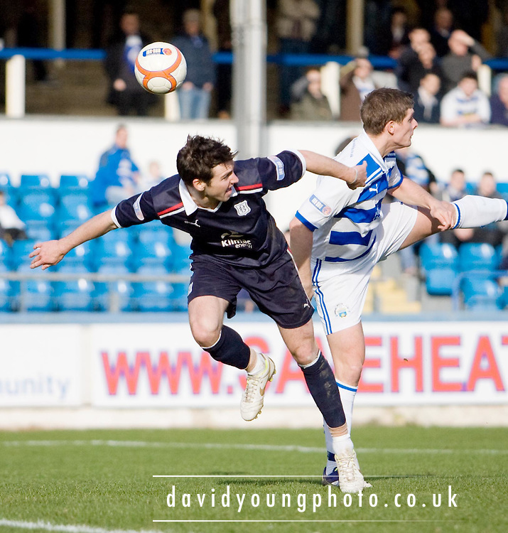 Dundee's Carl Finnigan and Greenock Morton's Ross Forsyth - Greenock Morton v Dundee, Irn Bru Scottish Football League First Division at Cappielow..© David Young - 5 Foundry Place - Monifieth - DD5 4BB - Telephone 07765 252616 - email; davidyoungphoto@ggmail.com - web; davidyoungphoto.co.uk