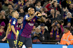 October 28, 2018 - Barcelona, Catalonia, Spain - Arturo Vidal cellebrating his score during the spanish league match between FC Barcelona and Real Madrid at Camp Nou Stadium in Barcelona, Catalonia, Spain on October 28, 2018  (Credit Image: © Miquel Llop/NurPhoto via ZUMA Press)
