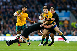 Australia Winger Drew Mitchell is tackled by New Zealand Lock Sam Whitelock and Prop Owen Franks - Mandatory byline: Rogan Thomson/JMP - 07966 386802 - 31/10/2015 - RUGBY UNION - Twickenham Stadium - London, England - New Zealand v Australia - Rugby World Cup 2015 FINAL.