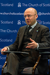 Pictured: Partick Harvey<br /> <br /> The People Politics Hustings,  organised by the Church of Scotland, allowed voters to question SNP deputy John Swinney, Scottish Labour leader Kezia Dugdale, Scottish Liberal Democrat leader Willie Rennie, Scottish Greens co-convener Patrick Harvie and former Scottish Conservatives leader Annabel Goldie ahead of the Scottish Elections. Before the politicians had a chance to speak they had a chance to listen to five speakers with different viewpoints on how Scotland has supported them in the past and how it should support them in the future..<br /> Ger Harley | EEm 4 April 2016