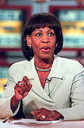 Chair of the Black Congressional Caucus, Rep. Maxine Waters (D-CA) discusses the Starr report September 13, 1998 during NBC's Meet the Press in Washington, DC.