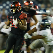 18 November 2017:  The San Diego State football team hosts Nevada Saturday night. San Diego State Aztecs running back Rashaad Penny (20) breaks a tackle for a first down in the fourth quarter. The Aztecs beat the Wolf Pack 42-23 at SDCCU stadium. <br /> www.sdsuaztecphotos.com