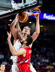 Timofey Mozgov of Russia vs Stefan Bircevic of Serbia during basketball match between National Teams of Russia and Serbia at Day 16 in Semifinal of the FIBA EuroBasket 2017 at Sinan Erdem Dome in Istanbul, Turkey on September 15, 2017. Photo by Vid Ponikvar / Sportida