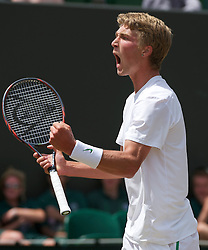 LONDON, ENGLAND - Friday, July 1, 2011: Liam Broady (GBR) celebrates winning a point during the Boys' Singles Semi-Final match on day eleven of the Wimbledon Lawn Tennis Championships at the All England Lawn Tennis and Croquet Club. (Pic by David Rawcliffe/Propaganda)