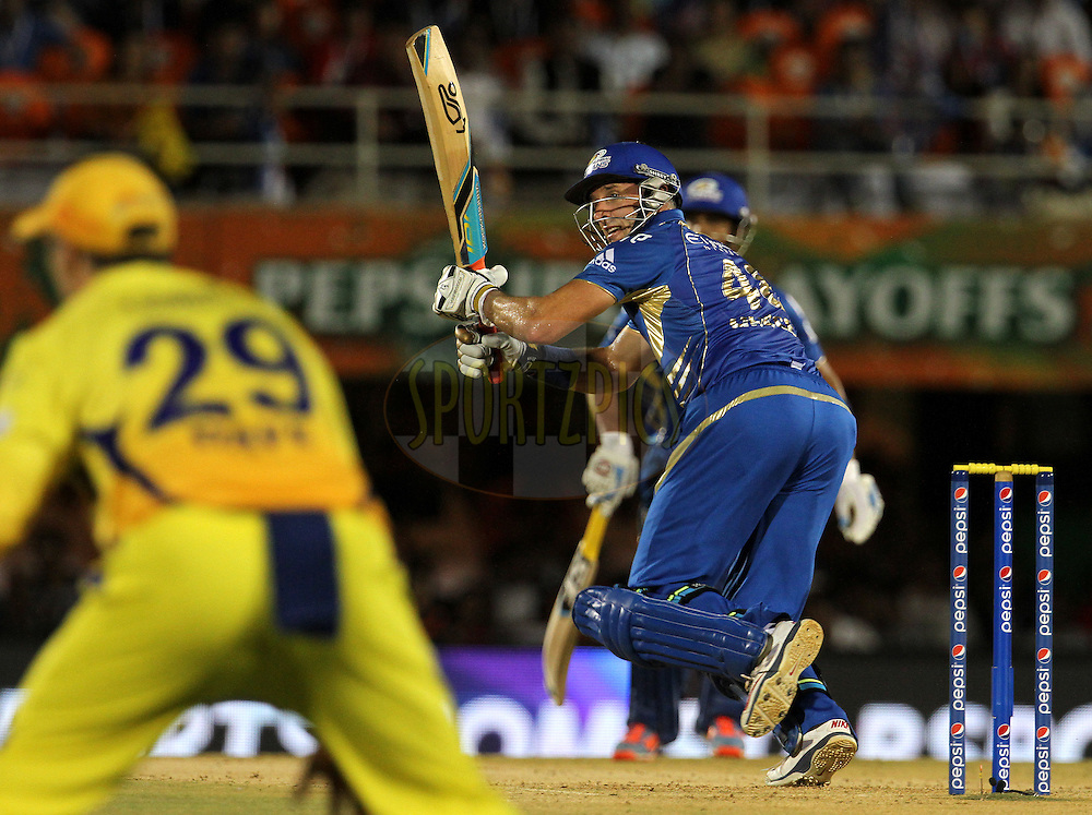 Michael Hussey of the Mumbai Indians plays a shot during the eliminator match of the Pepsi Indian Premier League Season 2014 between the Chennai Superkings and the Mumbai Indians held at the Brabourne Stadium, Mumbai, India on the 28th May  2014<br /> <br /> Photo by Vipin Pawar / IPL / SPORTZPICS<br /> <br /> <br /> <br /> Image use subject to terms and conditions which can be found here:  http://sportzpics.photoshelter.com/gallery/Pepsi-IPL-Image-terms-and-conditions/G00004VW1IVJ.gB0/C0000TScjhBM6ikg