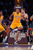 20 November 2012: Guard (1) Darius Morris of the Los Angeles Lakers in game action against the Brooklyn Nets during the first half of the Lakers 95-90 victory over the Nets at the STAPLES Center in Los Angeles, CA.