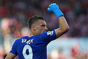 Leicester City's Jamie Vardy celebrates his equalising (2-2) goal during the Barclays Premier League match between Stoke City and Leicester City at the Britannia Stadium, Stoke-on-Trent, England on 19 September 2015. Photo by Aaron Lupton.