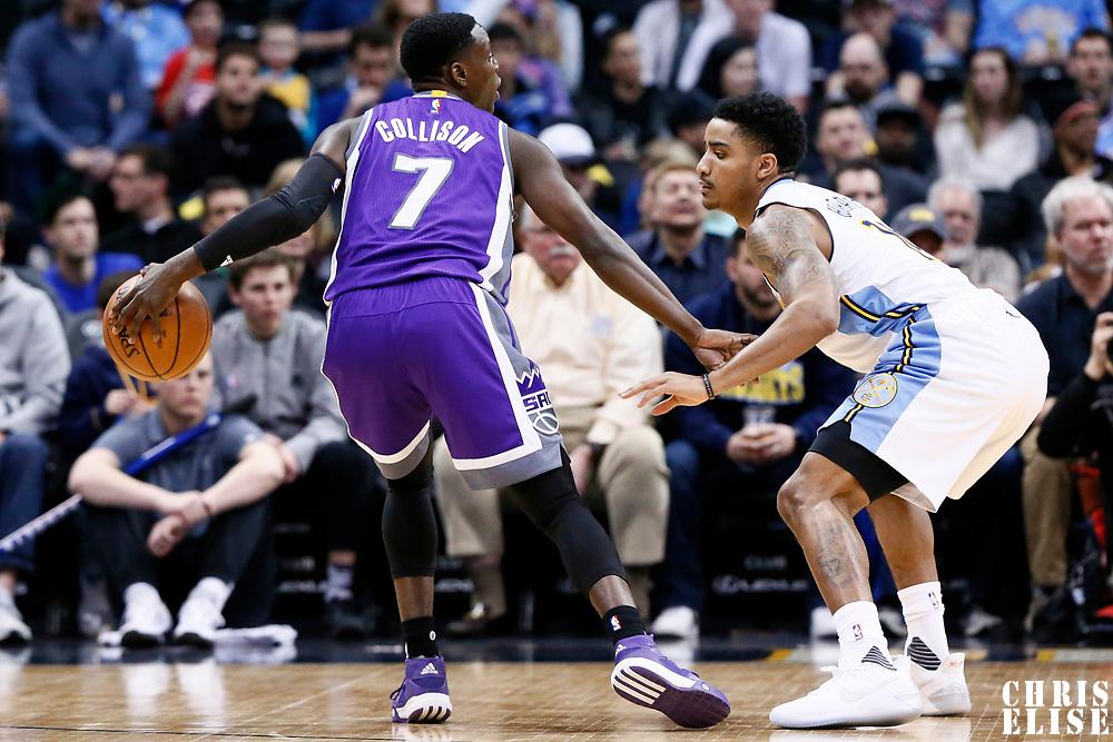 06 March 2017: Denver Nuggets guard Gary Harris (14) defends on Sacramento Kings guard Darren Collison (7) during the Denver Nuggets 108-96 victory over the Sacramento Kings, at the Pepsi Center, Denver, Colorado, USA.