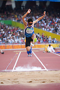 Jakkrit PUNTHONG  of Thailand in The Bird's Nest National Stadium competeing in the men's long jump F11 final at the Paralympic games, Beijing, China. 15th September 2008