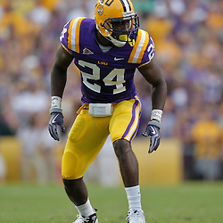 19 September 2009: LSU Tigers linebacker Harry Coleman (24) lines up for a play during a 31-3 win by the LSU Tigers over the University of Louisiana-Lafayette Ragin Cajuns at Tiger Stadium in Baton Rouge, Louisiana.